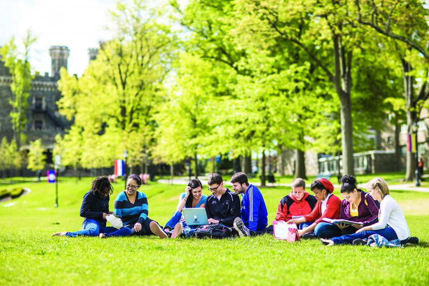 Students socializing on Haber Green