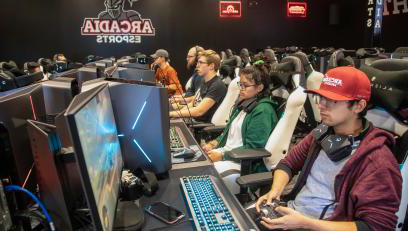 Students competing in Arcadia's esports arena